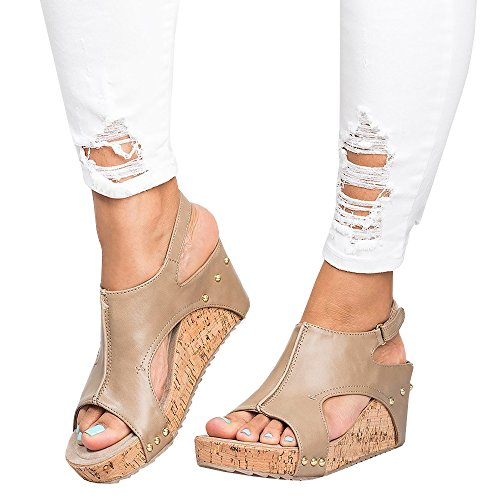 Sheleau Womens Peep Toe PU Blocking Hook-Loop Wedge Sandals Casual Buckle Rivet Summer Heel Shoes Khaki