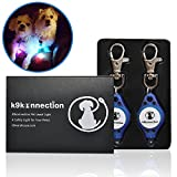 K9KONNECTION Flashing Bright LED Safety Lights for Dogs & Cats with On/Off Switch (2-Pack) | Attachable to Leash or Collar with Clip On Hook | Superior Visibility for Night Walks | Spot Your Pet Fast!