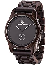 Greentreen Mens Ebony Watch Quartz Analog Watch Black Simple Decor Watch Handmade Wrist Watch Gift Boxed