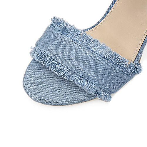zapatos mujer alto de rocío de verano alto Deep talón blue tacón mujer sandalias zapatos toe nuevo Los ABxPqIzwI
