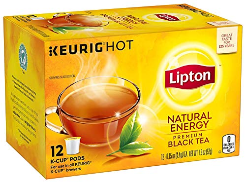 (Lipton Premium Black K-cup pods, Hot or Iced Natural Energy, 12 count Pack of)