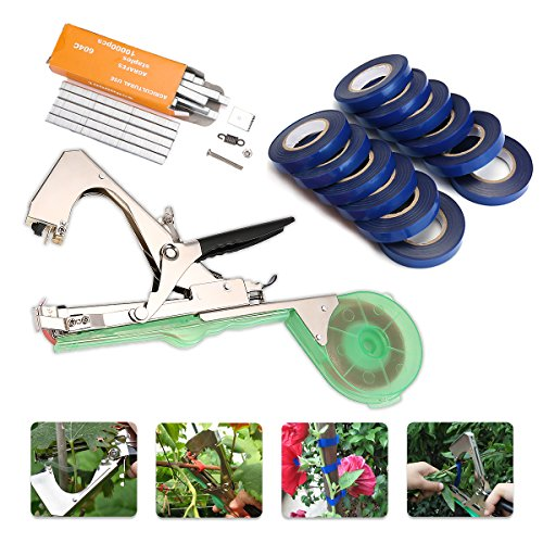 KingSo Tying Machine for Plant and Garden Plant Tapetool Tapener With 12 Rolls Tape Set for Vegetable, Grape, Tomato,Cucumber, Pepper and (Tying Tools)
