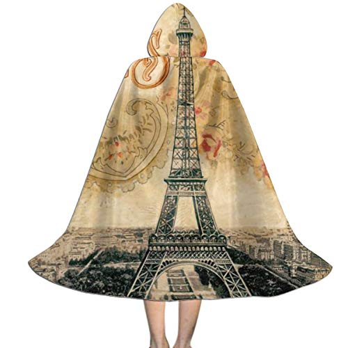 Eiffel Tower Paris France Hooded Cloak Long Cape for Christmas Halloween Cosplay Costumes, 3 Size - S M L Black
