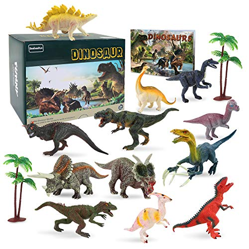 15 Pcs Plastic Dinosaur Figure Toys Set with 2 Pcs Trees and Dinosaur Book, STEM Learning Educational Xmas Toys Gifts for 2 3 4 5 6 7 Year Old Boys -