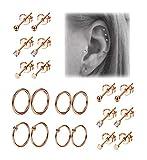 REVOLIA 10Pairs Stainless Steel Cartilage Earrings for Men Women Stud Earrings Ball CZ Tragus Helix Piercing R