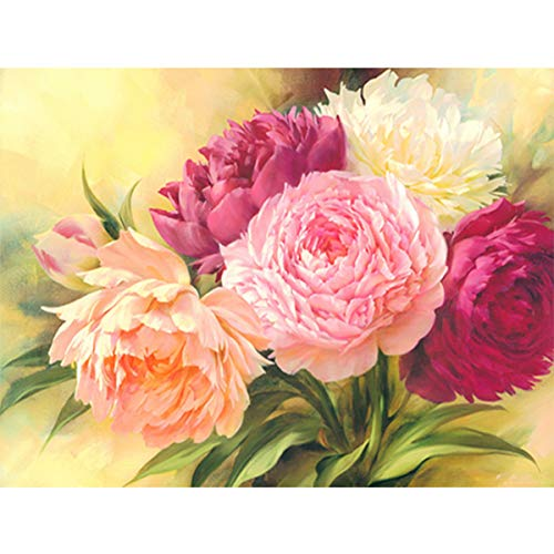 DIY Square Diamond Painting Kits for Adults Full Drill, Peony Flowers Rhinestone Embroidery Cross Stitch Pictures Arts Craft Home Wall Decor 11.8×15.8 inch