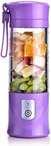 USB Electric Safety Juicer Cup, Fruit Juice mixer, Mini Portable Rechargeable/Juicing Mixing Crush Ice and Blender Mixer,420-530ml Water Bottle (Purple) (Renewed)