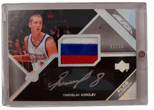 2006-07 Upper Deck Black Flag Autograph #AF-YK Yaroslav Korolev Patch Auto /25 Los Angeles Clippers