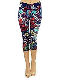 VIV Collection Women's Printed Brushed Capris