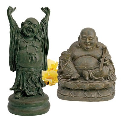 Design Toscano NY983369 Jolly Hotei and Laughing Buddha Sanctuary Statue Set