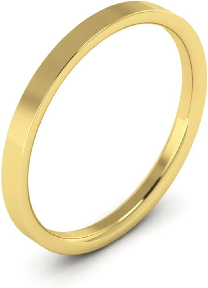 4.25 10K Yellow Gold mens and womens plain wedding bands 2mm flat comfort-fit light