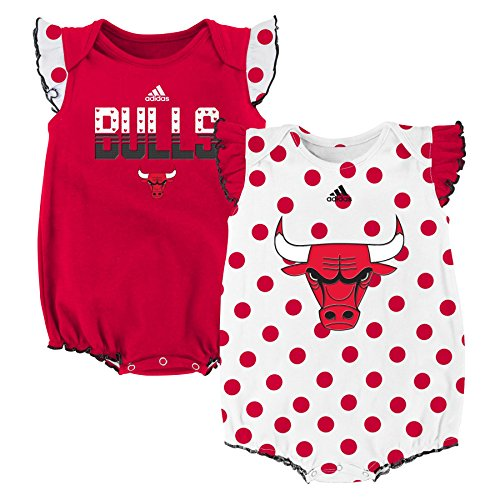 "NBA Chicago Bulls Newborn ""Polka Fan"" 2pk Creeper Set, Red, 0-3 Months"