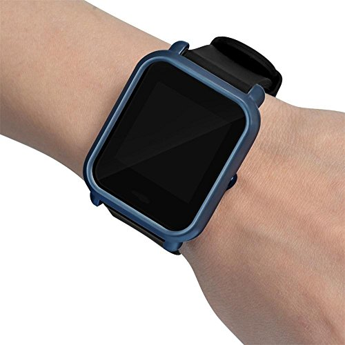 OUBAO PC Case Thin Cover Protect Colorful Shell for Xiaomi Huami Amazfit Bip Youth Watch Screen Protector Case Full 360 Protection Gel Bumper Cover (Navy) by OUBAO (Image #4)