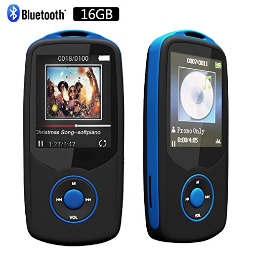RUIZU Sport Bluetooth 16 GB MP3 Player Hifi Lossless Sound with FM Radio-Support up to 64GB Micro SD Card-Blue