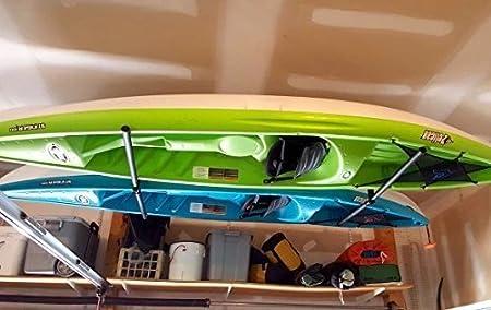 Soporte de Techo para 2 Kayaks Ajustable StoreYourBoard Soporte para Colgar en la Cabeza