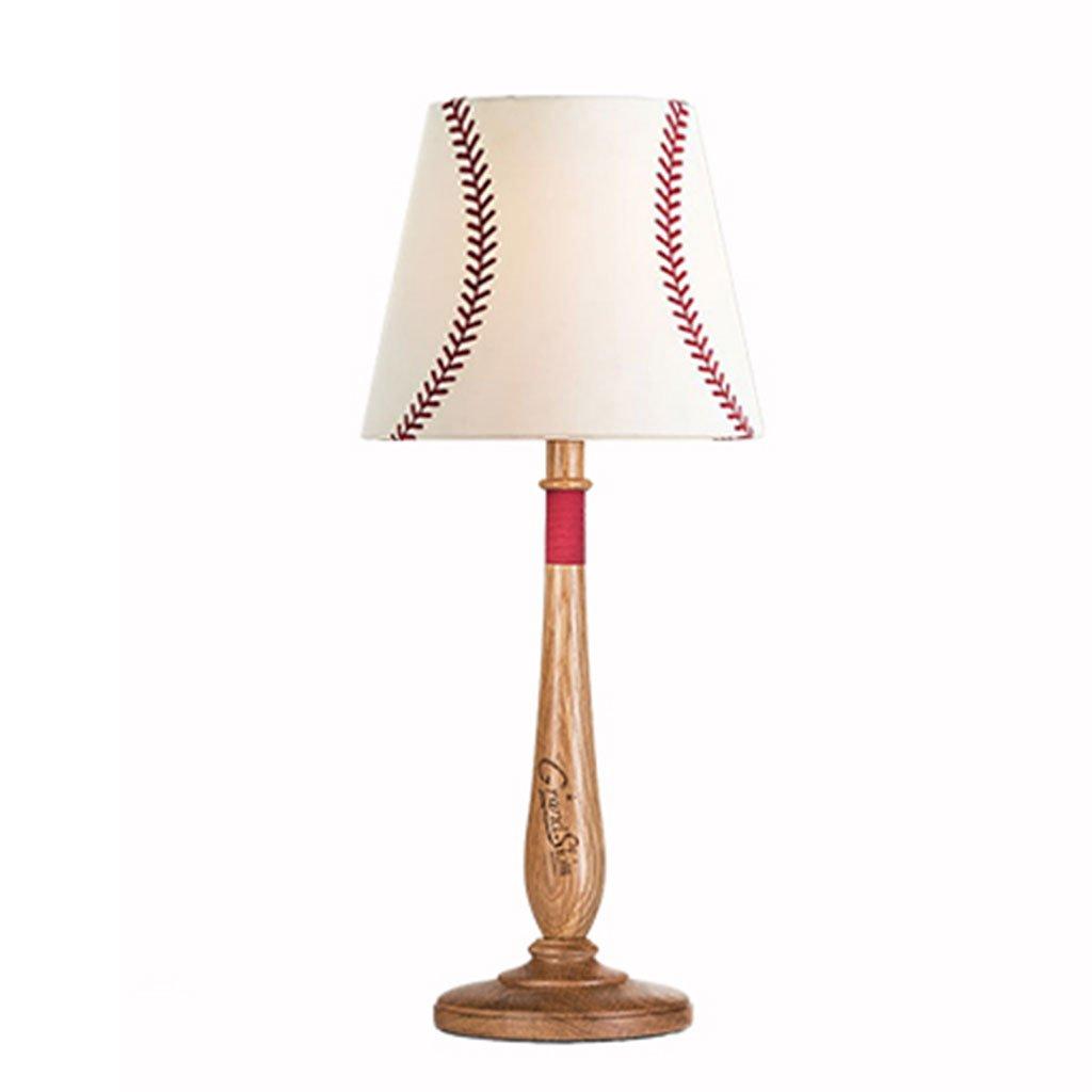 XUXUEPING Lampada da Tavolo Wood Baseball Bedroom Bedside Lampada da Scrivania Creative Northern Europe Semplice (Colore : Black Walnut)