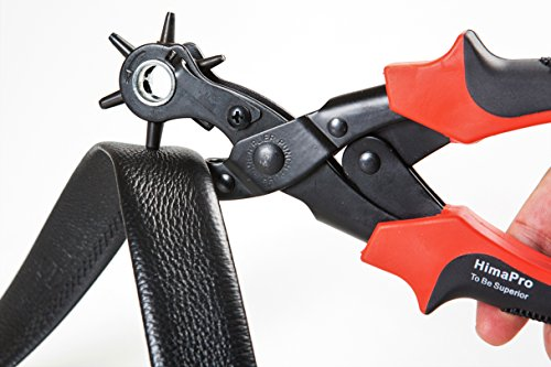 HimaPro Leather Belt Hole Punch Belt Hole Puncher Leather Hole Punch Tool Heavy Duty Rotary Puncher Revolving Belt Hole Punch Plier for Belts Saddles Watch Bands Pet Collars Paper Cardboard by HimaPro (Image #1)