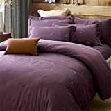 Chinese shtyle Bedding Collection Satin Vintage Embroidery 4 Piece Bed Sheet Set Durable Egyptian Cotton Duvet Cover Flat Sheets Pillowcases Size Full Queen Purple , full