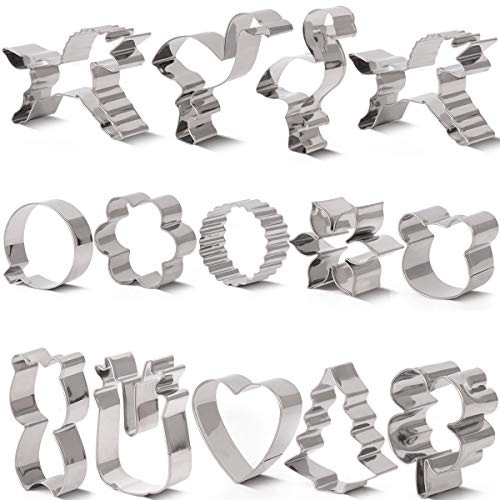Lumon Cookie Cutter Set,14 Piece Holiday includes Flamingo,Unicorn,Heart,Flower,Maple leaf,musical Note,Christmas Tree,Babe Cat,Christmas balls,Q Bear Face ()