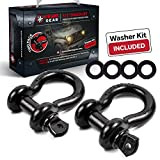 """USWAY GEAR 3/4"""" D Rings (2 Pack) Shackles Rugged 4.75 Ton (9,500 LBS) Working Load + Free 4 pcs Washer Kit Rings, for Vehicle Recovery, Towing, Stump Removal & More - Jeep & Truck Accessories"""