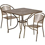 """Flash Furniture 35.5"""" Square Gold Indoor-Outdoor Steel Patio Table Set with 2 Round Back Chairs For Sale"""