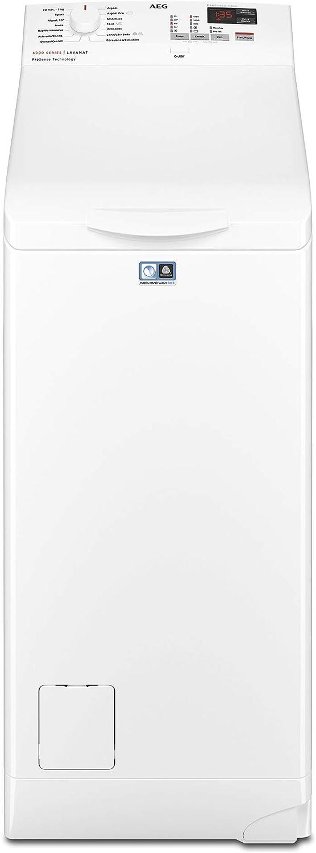 AEG L6TBK621 Lavadora de Libre Instalación, Carga Superior, 6 Kg, 1200 rpm, 14 Programas, Programa Rápido 20 min, Inicio Diferido, Autoposicionamiento Tambor, Apertura Suave, LCD, Blanca