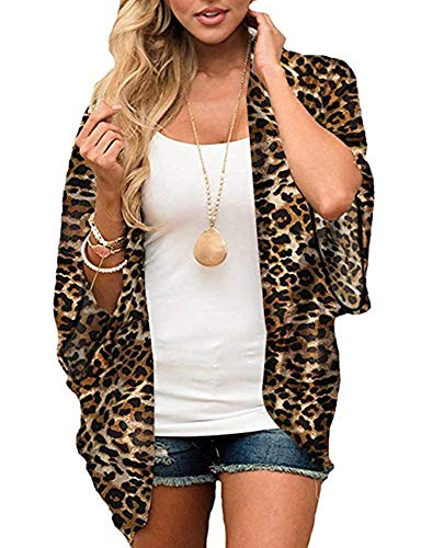 Womens Floral Kimono Cardigans Sheer Print Chiffon Loose Cover ups (Leopard,L