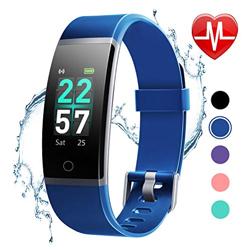 LETSCOM Fitness Tracker with Heart Rate Monitor, Color Screen Activity Tracker Watch, IP68 Waterproof Pedometer Watch Sleep Monitor Step Counter for Women Men Kids ()