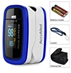 AccuMed CMS 50D1 Pulse Oximeter Finger Pulse Blood Oxygen SpO2 Monitor w Carrying case Landyard & Battery FDA CE Approved Blue