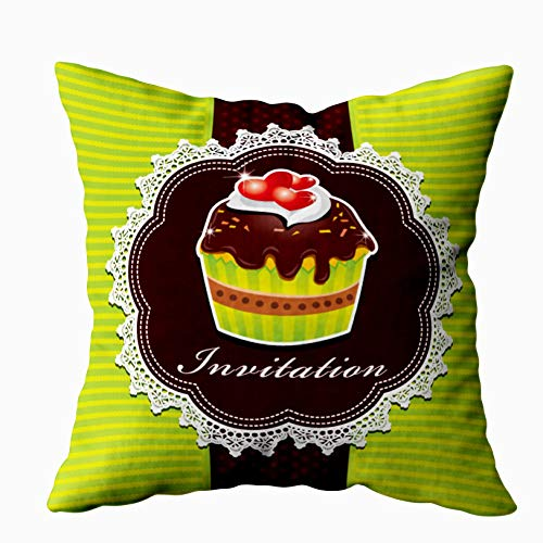 Capsceoll Bed Pillow Covers, Cute Cup Cake Design Sofa Throw Pillows Case Covers,Home Decoration Pillow Cases Zippered Covers Cushion for Sofa Couch