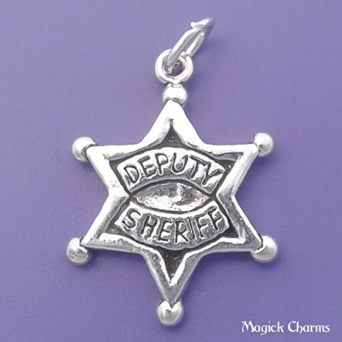 - 925 Sterling Silver Deputy Sheriff Charm Police Officer Star Badge Jewelry Making Supply, Pendant, Charms, Bracelet, DIY Crafting by Wholesale Charms