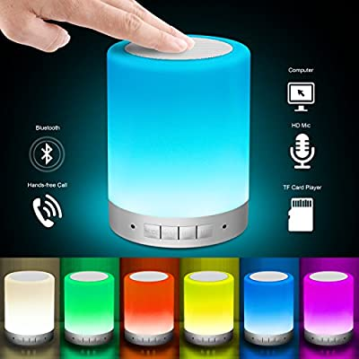 Elecstars Bedside Lamp, Touch Control Table Lamp with Wireless Bluetooth Speaker, Dimmable Warm Night Light, RGB Color Changing Smart Touch Lamp for Women Teens Kids Children Sleeping Aid (Silver)