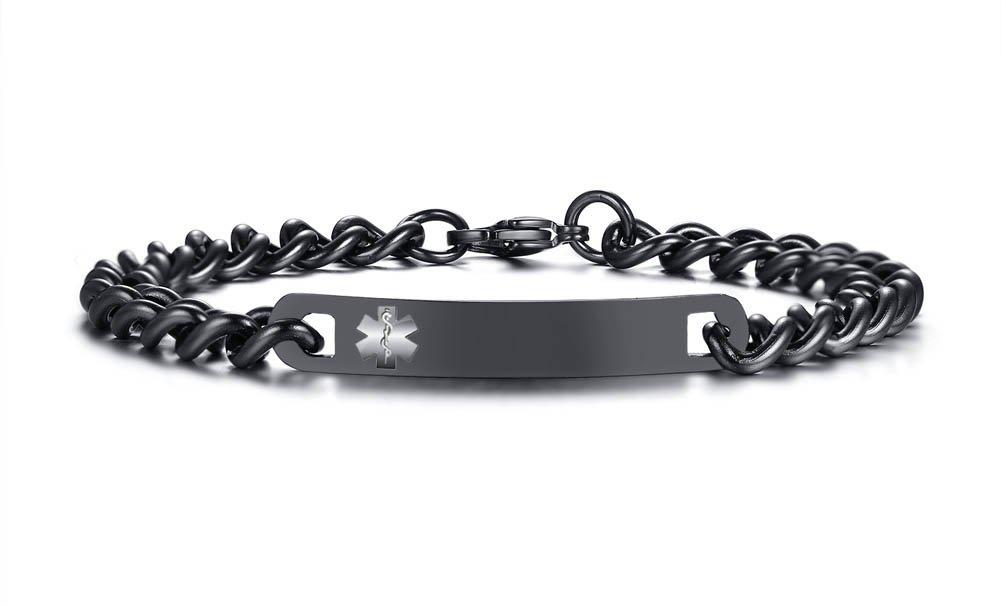 Free Custom Engraving Women's Black Stainless Steel Chain Medical Alert ID Bracelets for Women,First Alert SOS Bracelet