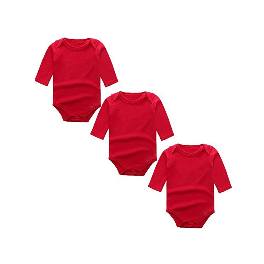 BINIDUCKLING Baby Girls Bodysuit 3-Pack Long Sleeve