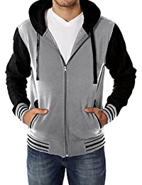 Men's Fleece Hoodie – Varsity Two Tone Hooded Zip-Up Sweatshirt
