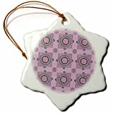3dRose Andrea Haase Art Illustration - Mandala Ornament Pattern Pink With Turquoise - 3 inch Snowflake Porcelain Ornament (orn_268244_1)