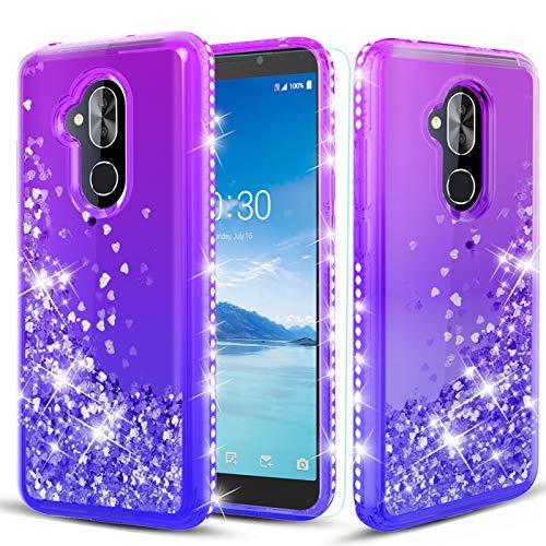 TGOOD Alcatel 7 Case,Alcatel 7 Phone Case/T-Mobile Revvl 2 Plus,Alcatel 7 Foli Case with Tempered Glass Screen Protector,Liquid Quicksand Sparkle Floating Bling Diamond Case for Girls,Purple/Blue