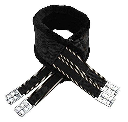 New Quality Black/Black Sheepskin Synthetic Fur Nylon Girth Horse, Cob, Pony, Elasticated DRing Fastening Arndale Media