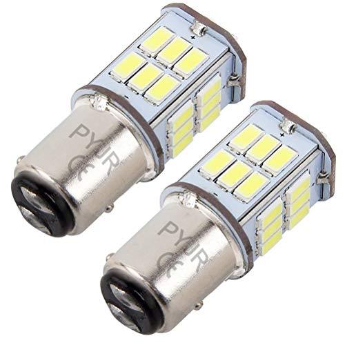P21/5w 1157 Bay15d bombilla led de freno, PYJR 5W DC10-30V Voltaje ancho Luz blanca 6000K, para RV, automovil, motocicleta, 2 unidades