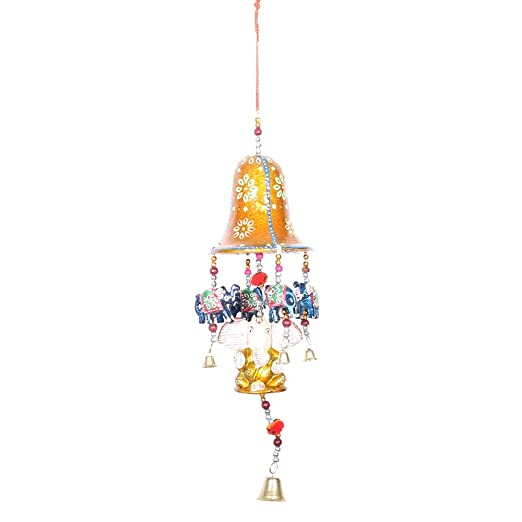APKAMART Hand Crafted Rajasthani Ganesh Latkan with Bell - 16 Inch - Traditional Hangings for Wall Decor, Room Decor, Home Decor and Gifts Wall Decor & Hangings at amazon