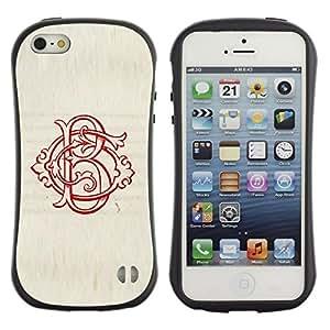 Paccase / Suave TPU GEL Caso Carcasa de Protección Funda para - B letter initial calligraphy red vintage - Apple Iphone 5 / 5S