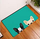 23 X 15 inch Beige Dog Bath Mat, Green Cute Puppies Bathroom Mat Pet Animal Themed Anti Slip Bath Rug Printed Pattern, Black White Printed Toilet Door Mat Absorbent Shower Non Skid, Suede