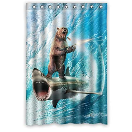 Custom Bear With Riding Shark Never Stop Dreaming Shower Curtain Stylish Waterproof Polyester Fabric Bathroom Deco 48 X 72 Amazoncouk Kitchen Home