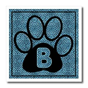 Doreen Erhardt Letra B azul de guepardo huella de gato–6x 6hierro en la transferencia de calor de Material blanco