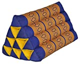 Thai triangular cushion, blue/yellow, relaxation, beach, kapok, made in Thailand. (82100)