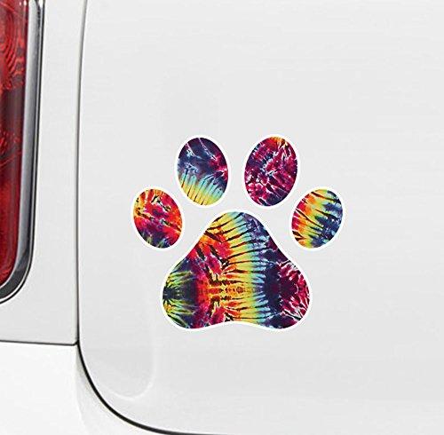 Rainbow Tie Dye Dog Pawprint - Paw Print - Vinyl Car Decal - Copyright Yadda-Yadda Design Co. (3
