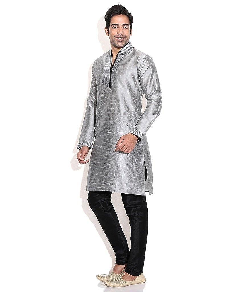 Hombres de seda mezcla gris hineck bordada Kurta Churidar: Amazon.es: Ropa y accesorios