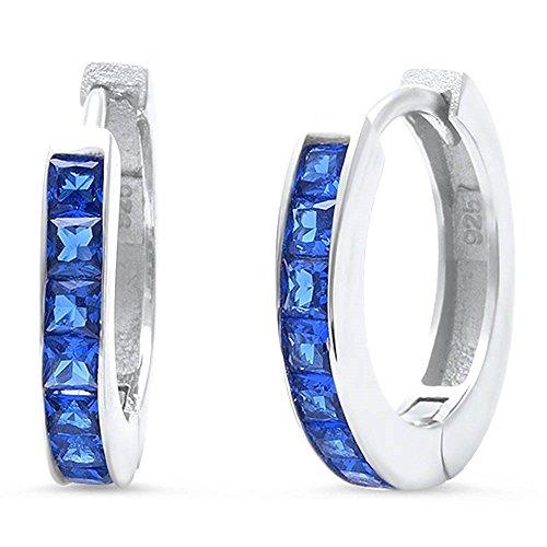 Hooop Earrings (14mm Hooop Huggies Earrings Half Eternity Princess Cut Simulated blue Sapphire 925 Sterling Silver)
