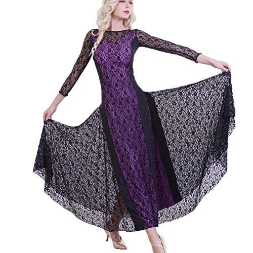 Ballo Wqwlf Da Per Danza Moderna Colore Vestiti s I Purple Pizzo Cucitura Donne Moderno Pratica Vestito Xl qP7Hfr4xwq