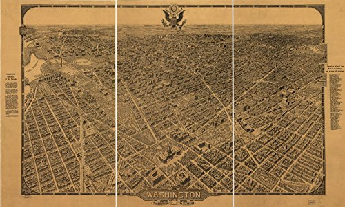 8 x 12 Reproduced Photo of Vintgage Old Perspective Birds Eye View Map or Drawing of: Washington, the beautiful capital of the nation. Olsen, William. (Olsen Photo)
